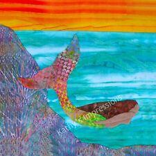 MERMAID Fabric Panel Ocean Swimming Sunset Fairy Tale Purple Batik Quilt Square