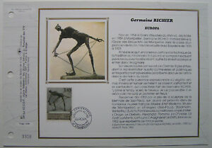 GERMAINE-RICHIER-Feuillet-CEF-Timbre-1er-jour-SOIE-1993