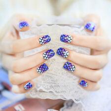 24 Pcs Oval Mermaid Design Short Blue White Purple  Scale Fake Nails
