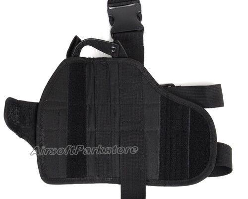 """Left Hand Pistol Gun Drop Leg Thigh Holster Black Tactical 2/"""" Nylon Duty Belt"""