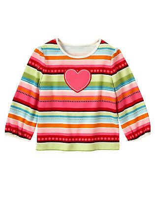 NWT 6M-2T GYMBOREE BABY GIRLS WINTER CHEER MULTICOLOR STRIPED PINK HEART L//S TOP