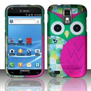 T-Mobile-Samsung-Galaxy-S-II-2-T989-Rubberized-HARD-Case-Phone-Cover-Green-Owl