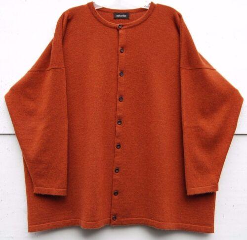 28 Rust Cashmere Weight Round Cardigan Eskandar Neck 28 lungo Medium gwY4t5
