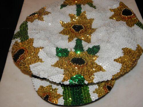 SEQUIN SUNFLOWER DAISY HAT BRANDO NEWSBOY CAP FLOWER GARDEN CLUB DANCE WHITE
