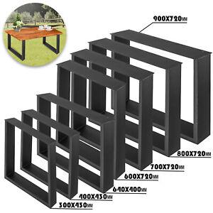 2X Pieds de Table Noir Rectangulaire Pied de Meuble Métal Support De Table