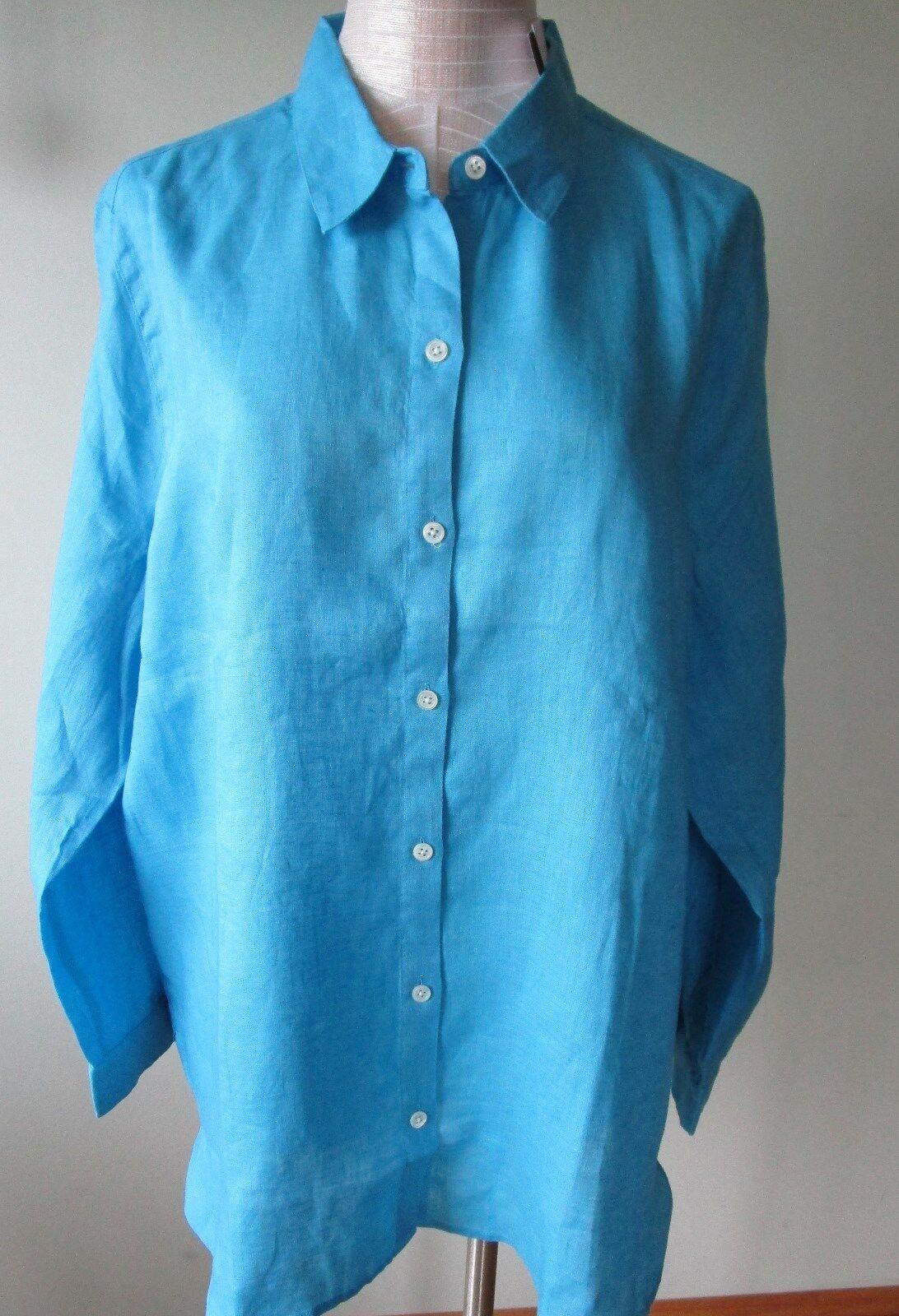 J.Jill     Linen   Big   shirt      3X     NWT      AQUA