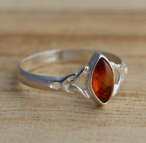 Cognac Baltic Amber Sterling Silver 925 Ring Jewellery