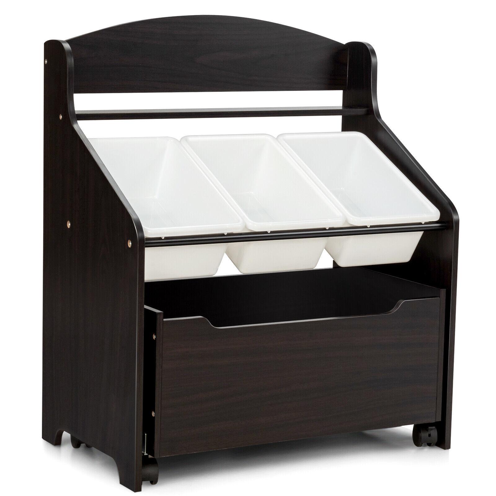 Kids Storage Bench W Cushion 3 Bins Organizer Toys Durable Hallway Entry For Sale Online Ebay