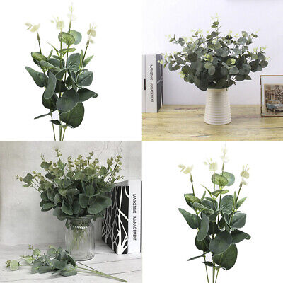 Artificial PP Fake Flower Eucalyptus Plant Green Leaves Lands Hotel Home Xmas