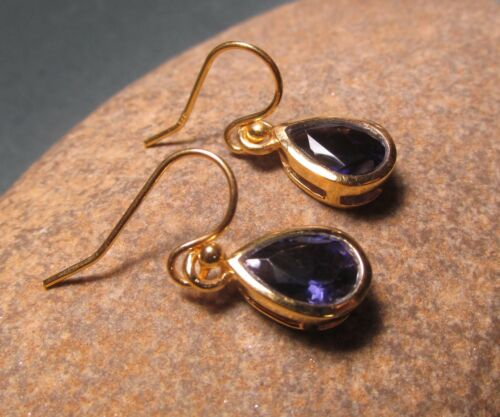 Sterling silver with 18k gold plate cut BLUE IOLITE earrings Gift bag.