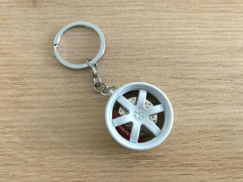 White Metal Wheel Tyre Keychain Keyring Key Chain Ring with Bearing Brake pad
