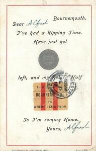 1913-COMIC-I-039-VE-HAD-A-RIPPING-TIME-MONEY-BOURNEMOUTH-TRAIN-BUS-TICKET-POSTCARD