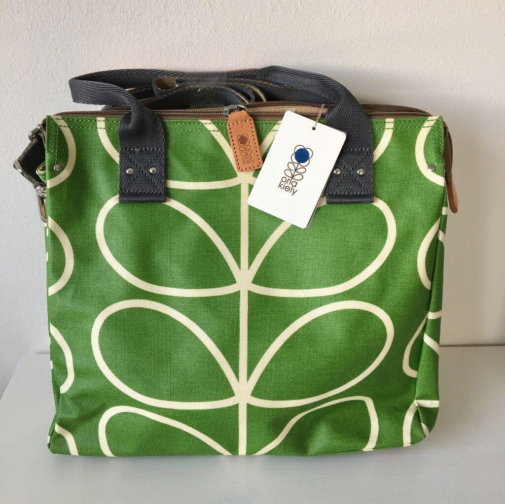 Orla Orla Orla Kiely GIANT LINEAR STEM Zip Messenger apple-Grün Tasche NEU mit Etikett     | Komfort  | Elegantes und robustes Menü  | Abrechnungspreis  017226