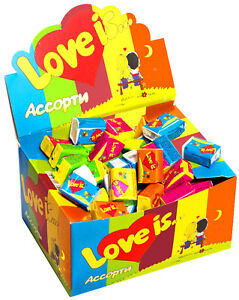 LOVE-IS-Chewing-Bubble-Gum-Assorted-with-all-5-Flavors-Full-Box-100-PCS