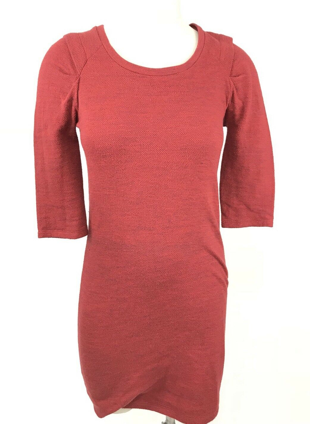 Iro Sweater Dress Größe 1 Cassie Tunic rot Exposed Zipper Pleated Shoulder Knit