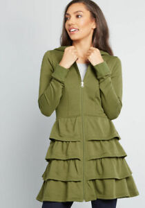 EUC-Modcloth-Size-Small-Fit-And-Flare-Ruffle-Green-Hooded-Jacket