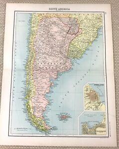 1891 Antik Map Of Südamerika Argentinien Bueno Aries Valparaiso 19th Jahrhundert