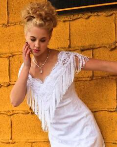 White Lace Fringe Western Wedding Dress Ebay