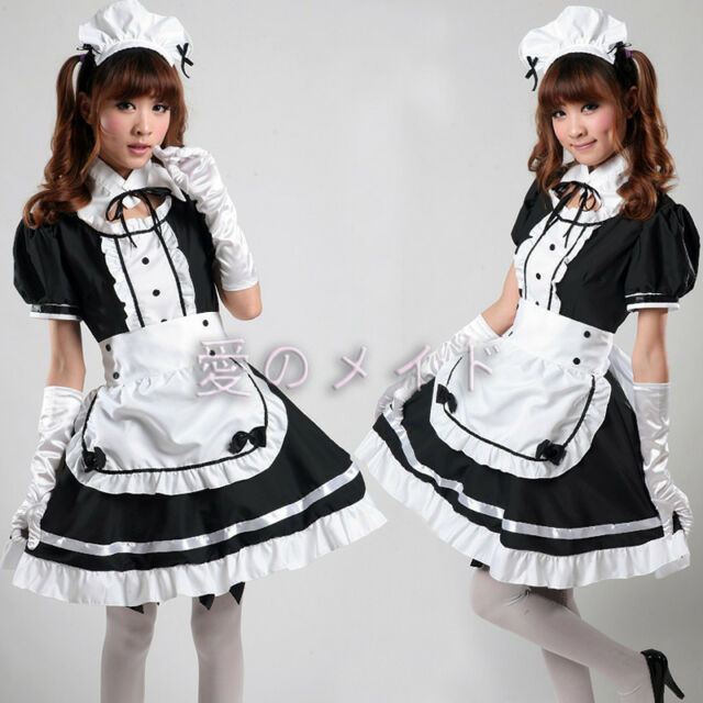 Japan Cosplay Sexy black Beer Lolita Maid Outfit  Costume  Party dress Set apron