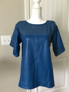 NWT-J-Crew-Perforated-Leather-Kimono-Sleeve-Blue-Top-Sz-6-Rare