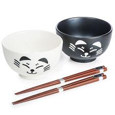 Black and White Cat Japanese Bowl Set