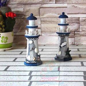 Handmade-tall-22cm-Wood-Beach-Lighthouse-Harbour-Lights-Ornament-Nautical-decor