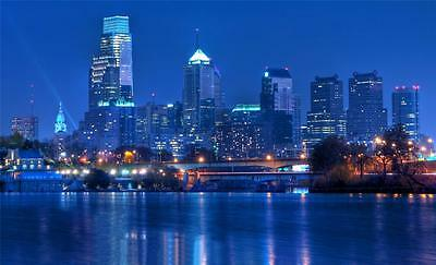 PHILADELPHIA SKYLINE AT NIGHT GLOSSY POSTER PICTURE PHOTO 76ers flyers love 1650