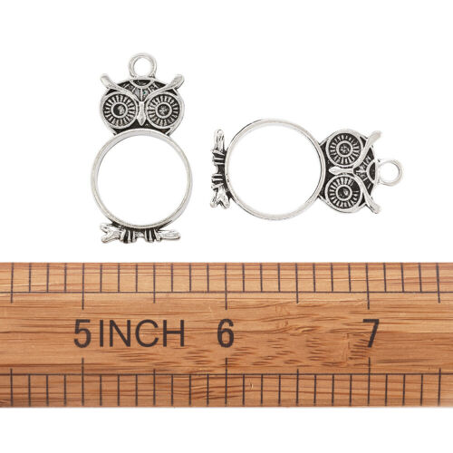 10pcs Antique Silver Alloy Open Back Bezel Frame Pendants Owl Charms 35.5x19mm