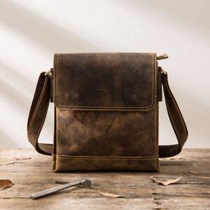 Image is loading Genuine-Crazy-Horse-Leather-Vintage-Men-Luxury-Shoulder- cf2c5deb893e6