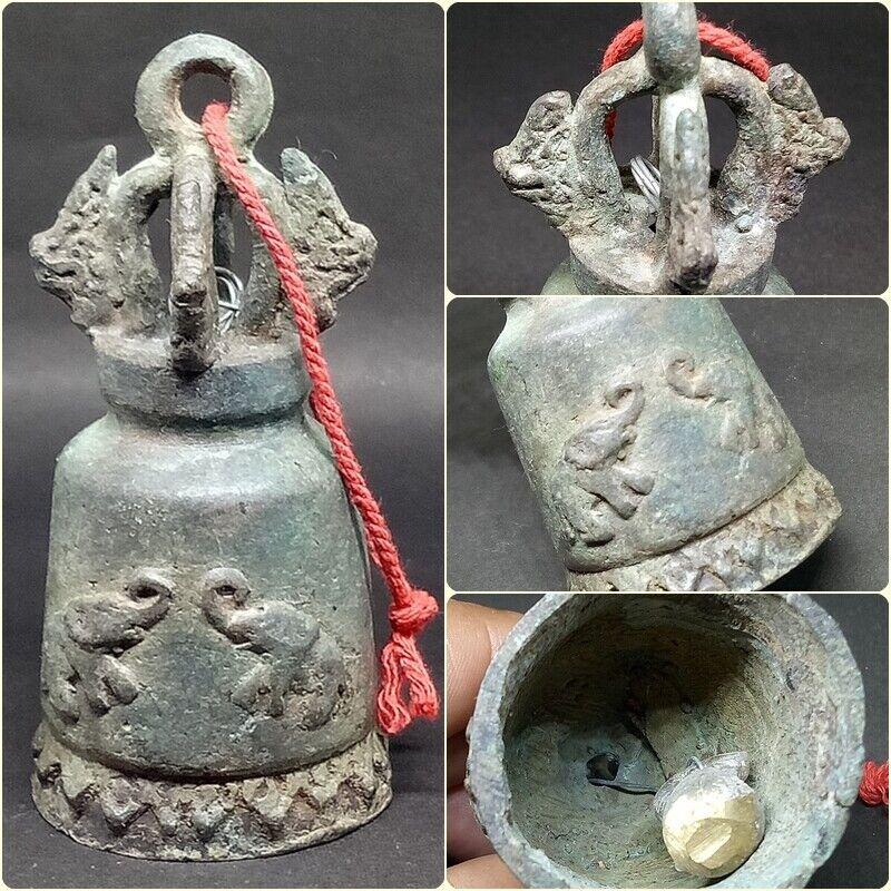 Bell Chime Decor Elephant Naga Dragon Temple Clapper Hang Thai Buddha Old Bronze
