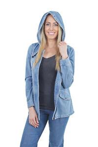 Women-039-s-Juniors-Premium-Stretch-Hooded-Denim-Long-Sleeve-Jacket