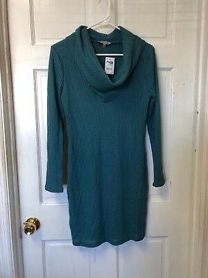 Charlotte Russe Teal Cowl Neck Sweater Dress Size Small NWT | eBay