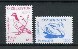 Uzbekistan-2018-MNH-Birds-Definitives-Part-I-2v-Set-Doves-Pigeons-Swans-Stamps