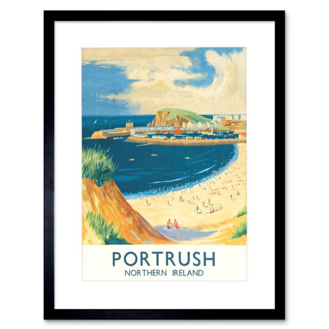 "Beach Coast Harbour Portrush Northern Ireland British Framed Art Print 12x16/"""
