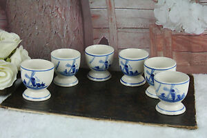 SET-of-6-Delft-pottery-ceramic-Egg-holders-dinner-Mill-floral-marked-cute