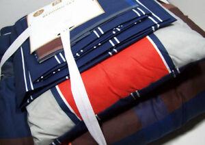 Pottery-Barn-Teen-Knock-Out-Plaid-Stitching-XL-Twin-Comforter-Sheet-Set-Sham-New