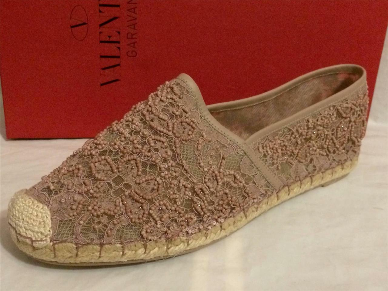 Valentino Beaded Beaded Beaded Embellished Nude Floral Print Lace Flat Espadrille shoes  995 1b70c1