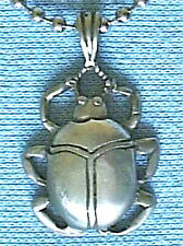 EGYPTIAN SCARAB BEETLE PEWTER PENDANT MENS BOYS GIRLS NECKLACE CHAIN    PC097
