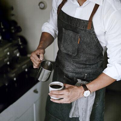 Unisex Dark Wash Denim Apron Kitchen Gardening Home Cooking Chef Cafe Barista