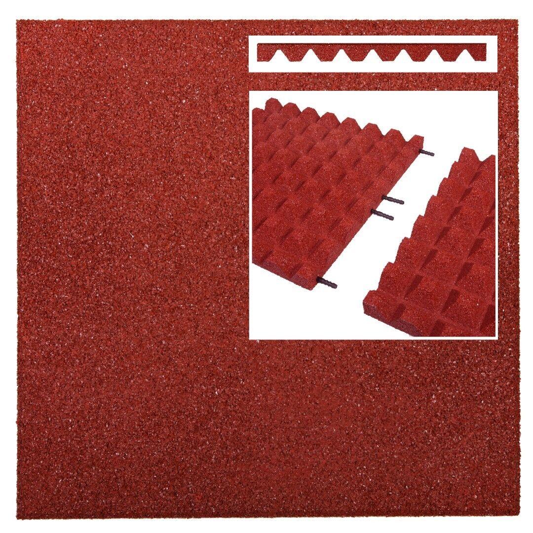 2 m² Fallschutzmatten ROT + Verbinder Fallschutzplatte Gummimatte Fallschutz NEU