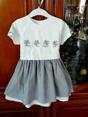 Diszipliniert Weiß/graues Kleid In Gr.98 +oberteil Mit Blütenbestickt + Neuwertig Kunden Zuerst