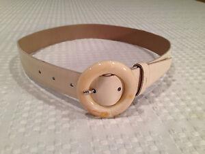 Authentic Prada White Leather Belt Size 70 28 Circular Prada Logo ...