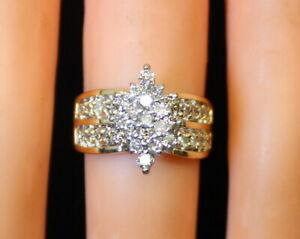 NICE-Estate-Ladies-14K-Gold-1-3-Ct-Diamond-Cluster-Waterfall-Style-Ring-s5-5