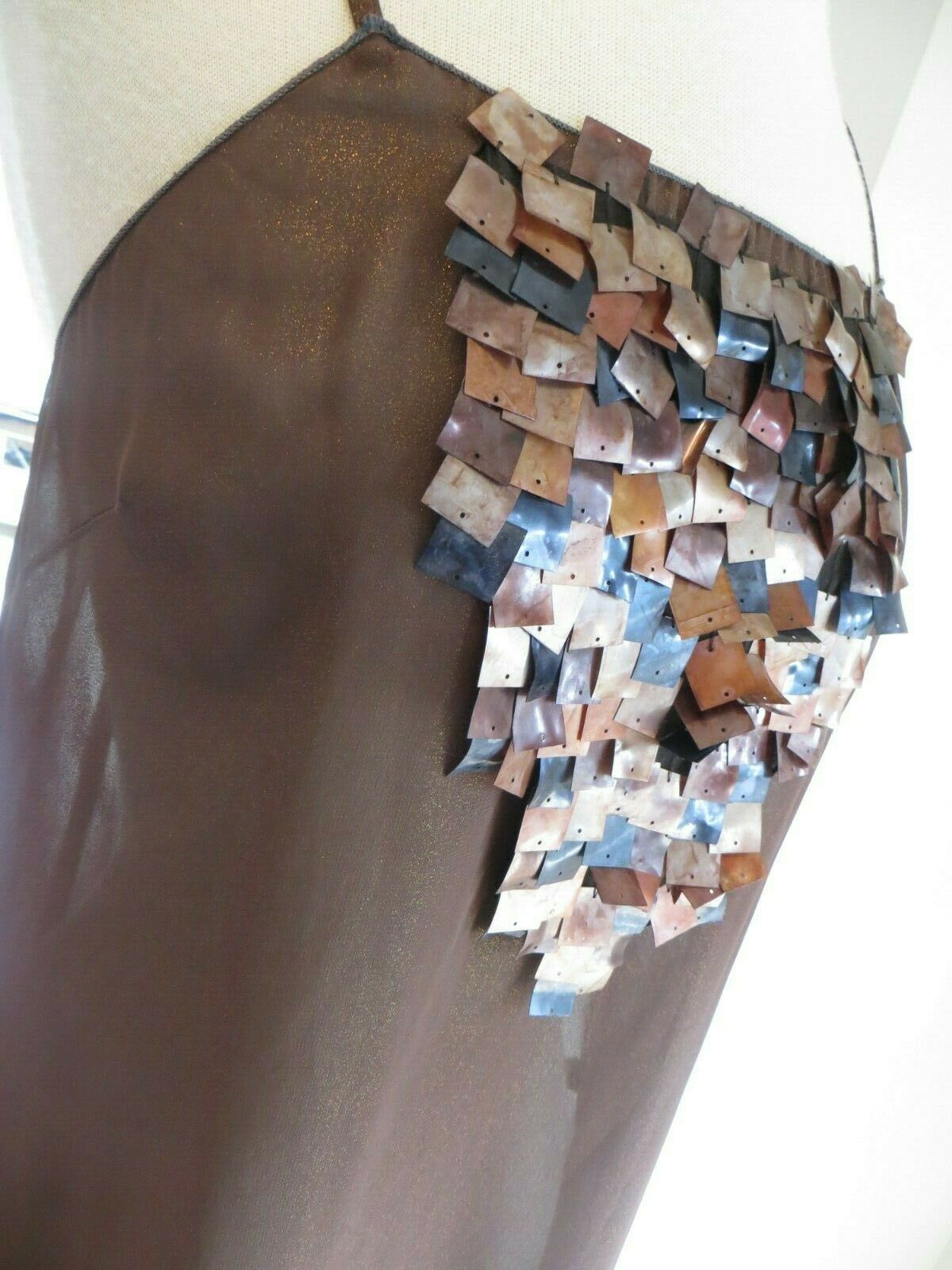 NEW Womens Rozae Nichols Sheer Embellished Tank Brown Top Size M   STUNNING