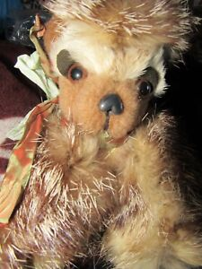 VINTAGE-9-034-REAL-FOX-FUR-OOAK-ORIGINAL-ARTIST-S-TAUBER-RARE-TEDDY-BEAR-DOG-PUPPY
