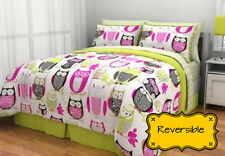 Twin XL Green Pink Owl Reversible 6-PC Comforter Teen Bedding Set w Sheets Skirt