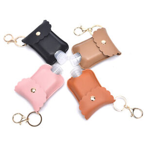 60ml Travel Bottle Leather Keychain Holder Portable Bottle Organizer Keyring YAN