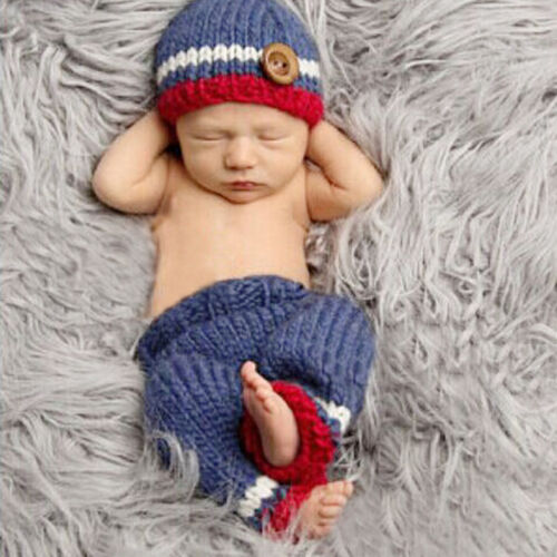 Newborn Boy Girl Baby Crochet Knit Costume Photography Photo Prop Hat Outfit Lot