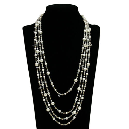 """53/"""" Pearl Glass Crystal Beads Necklace Chain Women/'s Jewelry Fashion Accessories"""