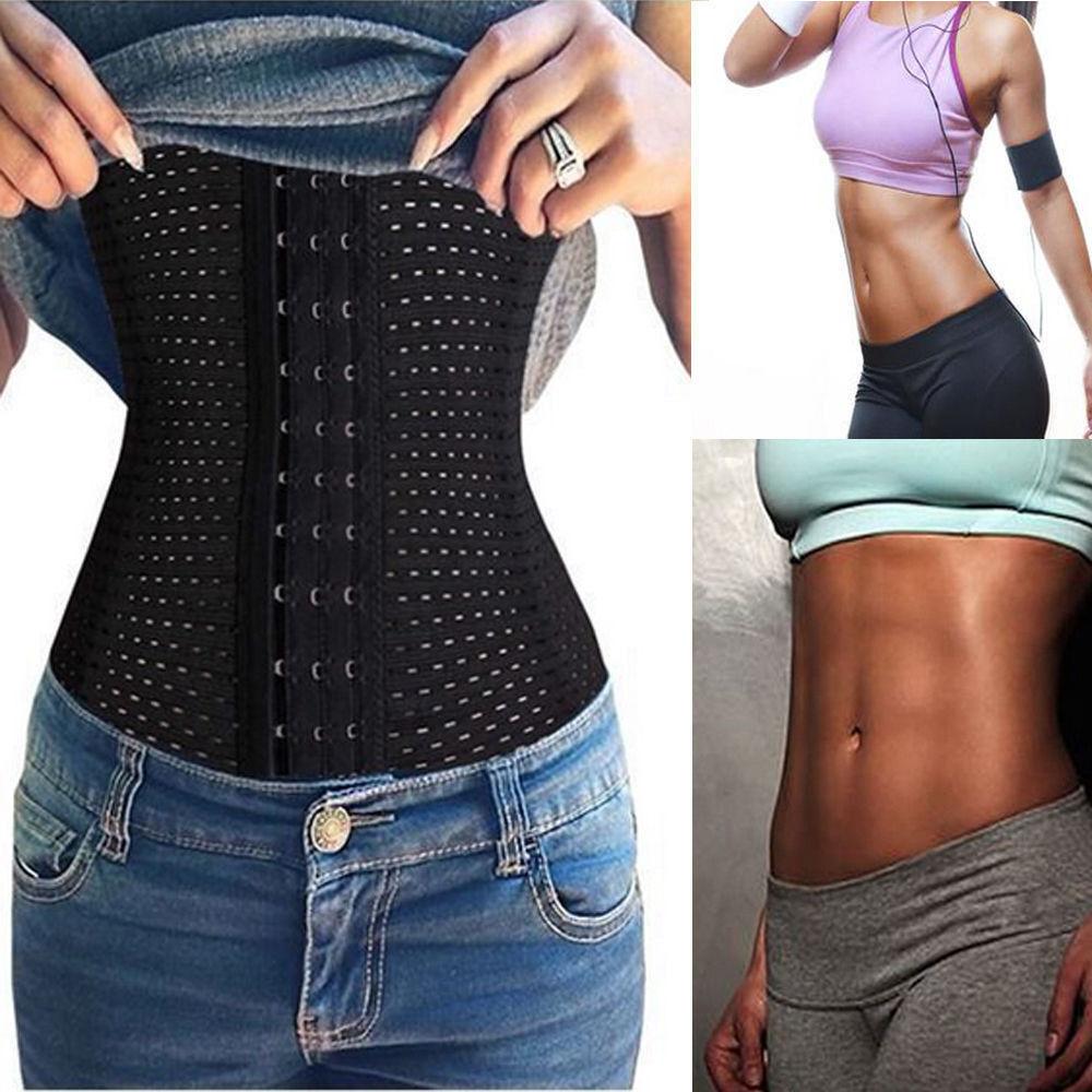 Women Waist Trainer Cincher Tummy Girdle Belt Body Shaper Black Corset Trimmer ) 5